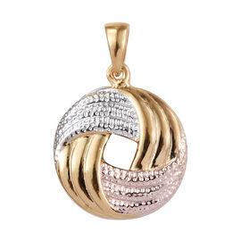 Rose Gold, Yellow Gold and Platinum Overlay Sterling Silver Pendant
