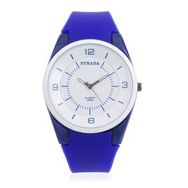 STRADA Japanese Movement White Dial Water Resistant Watch in Neon Dark Blue Tone with Dark Blue Colour Silicone Strap