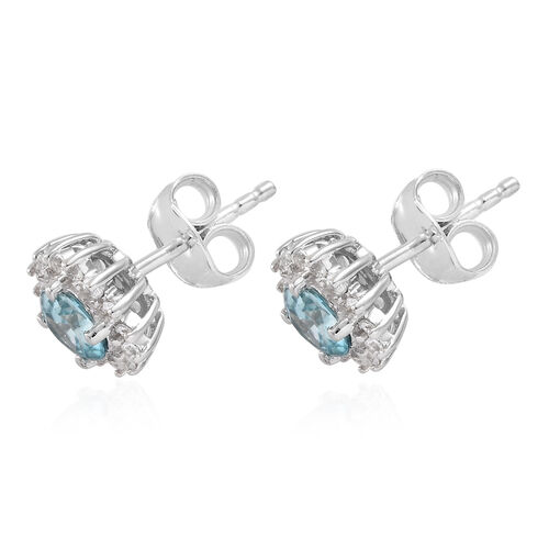 9K White Gold Blue Zircon (Rnd), Natural Cambodian Zircon Solitaire Stud Earrings (with Push Back) 1.650  Ct.