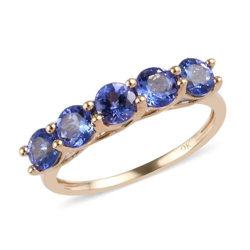 9K Yellow Gold Tanzanite Five Stone Ring 1.50 Ct.