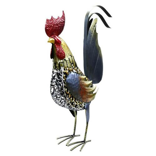 ROLSON Glazed Medium Tale Up Cockerel Garden Ornament