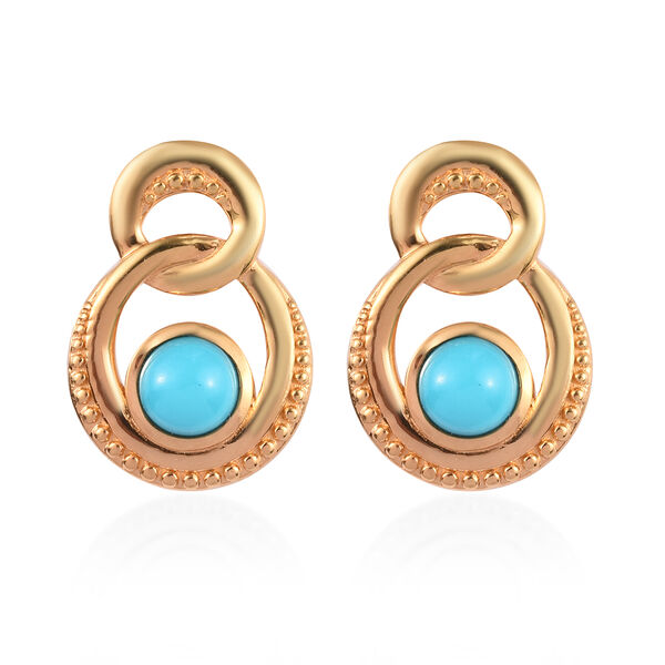 Arizona Sleeping Beauty Turquoise Earrings (with Push Back) in 14K Gold Overlay Sterling Silver 1.00