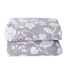 Single Size Microfiber Sherpa Quilt (Size 240x180 Cm) Grey and White Colour