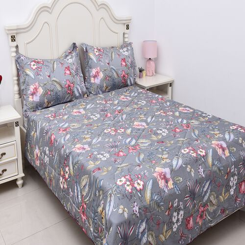3 Piece Set - 100% Mulberry Silk King Size Quilt with Cotton Floral Printed Cover and Two Pillow Cas