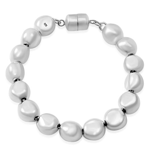 Designer Inspired-Sterling Silver Ball Beads Bracelet (Size 7.5) with Magnetic Clasp Silver wt 22.88