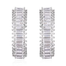 Simulated Diamond Hoop Earrings in Silver Tone With Clasp Lock
