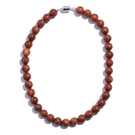 Red Jasper (Rnd) Beads Necklace (Size 18) in Rhodium Plated Sterling Silver with Magnetic Lock 450.000 Ct.