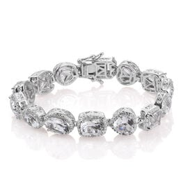 24.19 Ct White Topaz and Zircon Bracelet in Platinum Plated Silver 30 Grams 8 Inch