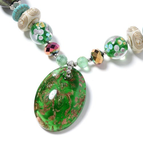 Murano Style Glass (Ovl), Simulated Pearl, Multi Colour Simulated Diamond, Wood, Blue Howlite Necklace (Size 30 and 2.5 inch Extender)