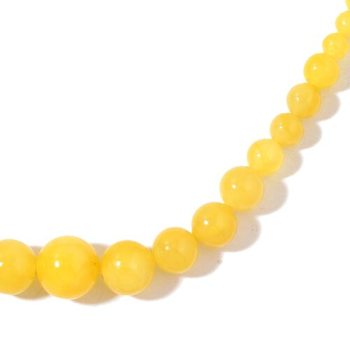 Burmese Yellow Jade Ball Necklace (Size 18 with 2 inch Extender) and Earrings in Rhodium Plated Sterling Silver 232.000 Ct.