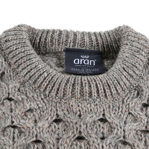 ARAN 100% Pure New Wool Sweater (Size L) - Grey