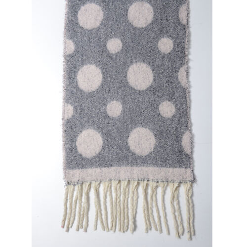 New Season- Dark Grey and Light Pink Colour Polka Dot Pattern Shawl (Size 220x52 Cm)