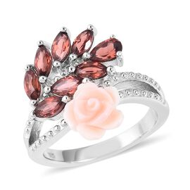 Jardin Collection - Pink Mother of Pearl and Mozambique Garnet Rose Ring in Rhodium Overlay Sterling