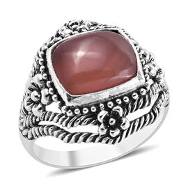 Royal Bali Collection Argentinian Rhodochrosite (Cush 12x10 mm) Ring (Size P) in Sterling Silver 6.74 Ct, Sil