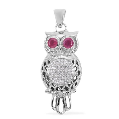 Royal Bali African Ruby and White Zircon Owl Pendant in Silver, 5.19 Grams