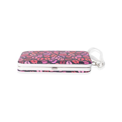 Limited Hot Lip Print RFID Clutch Wallet with Slot for Phone, Card and Cash (17.5x9.5x2.5cm)