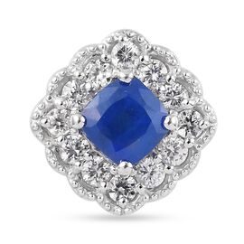 Tanzanian Blue Spinel and Natural Cambodian Zircon Pendant in Platinum Overlay Sterling Silver 2.25