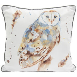 Lesser &  Pavey Country Life Owl Cushion (Size 43x43x10cm) - White