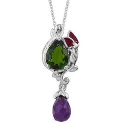 GP Russian Diopside (Pear), Amethyst and Kanchanaburi Blue Sapphire Pendant With Chain (Size 20) in Platinum Overlay Sterling Silver 3.330 Ct.