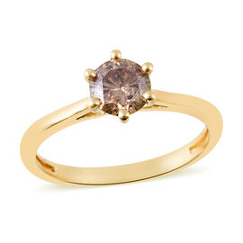 1 Carat Natural Champagne Diamond Solitaire Ring in 14K Gold SGL Certified I1