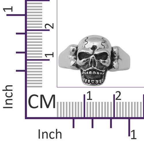 Thai Sterling Silver - Rhodium Overlay Sterling Silver Skull Ring