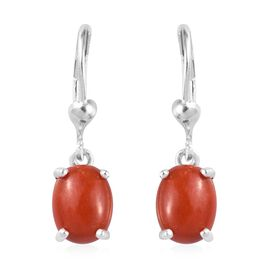 4.5 Ct Red Jade Solitaire Drop Earrings in Sterling Silver With Lever Back