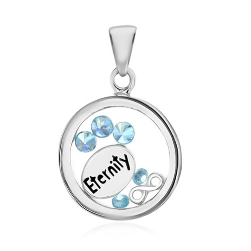 One Time Close Out Deal- Sterling Silver Floating Aqua Colour Crytal Pendant