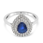 Tanzanian Blue Spinel and Natural Cambodian Zircon Ring (Size O) in Platinum Overlay Sterling Silver 1.75 Ct.