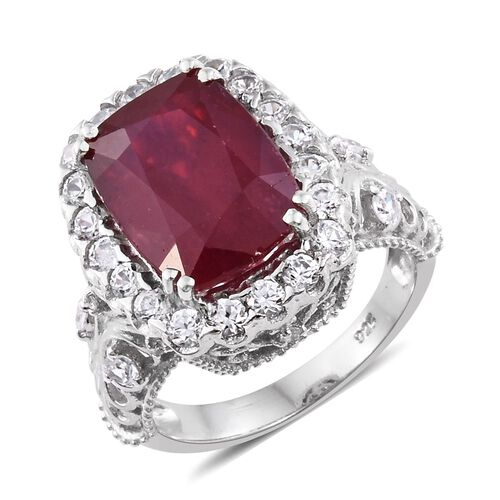 Designer Inspired - AAA African Ruby (Cush 8.00 Ct), Natural Cambodian Zircon Ring in Platinum Overl