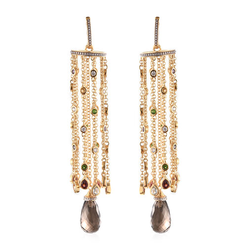 GP Brazilian Smoky Quartz and Multi Gemstone Chandelier Earrings (with Push Back) in 14K Gold Overla