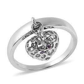 RACHEL GALLEY Tanzanite Lattice Heart Ring in Rhodium Overlay Sterling Silver