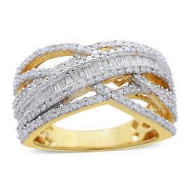 Diamond (Bgt) Criss Cross Ring in 14K Gold Overlay Sterling Silver 1.000 Ct.