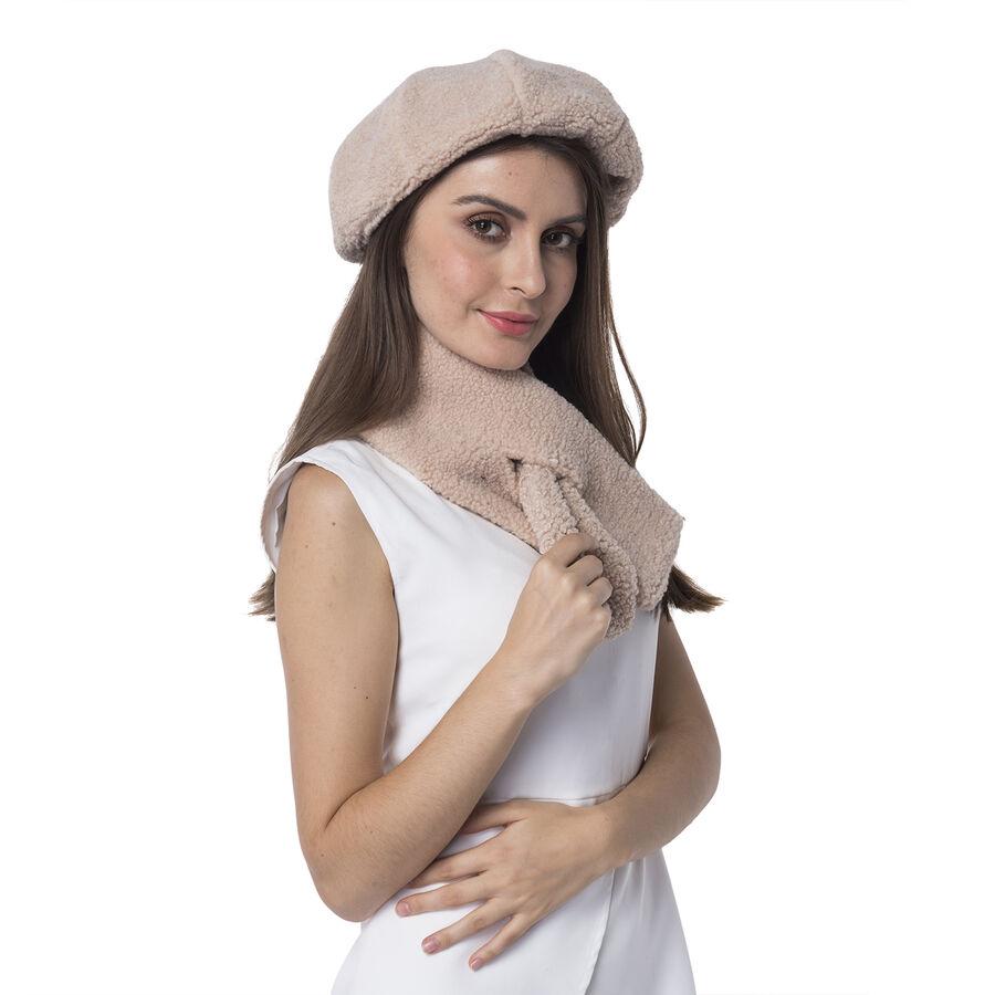 b7b42c8c0b9 ... Super Soft Sherpa Style Beret Hat and Scarf Set - (Scarf 13x92cm) (