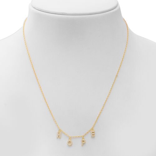 ELANZA Simulated Diamond Hope Necklace (Size 18) in Yellow Gold Overlay Sterling Silver