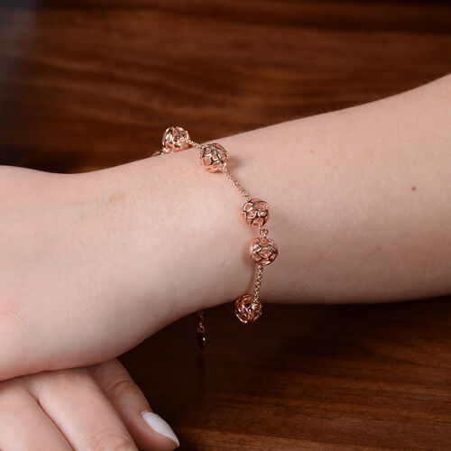 RACHEL GALLEY Lotus Collection - Rose Gold Overlay Sterling Silver Adjustable Bracelet (Size - 7/7.5/8), Silver wt. 11.46 Gms
