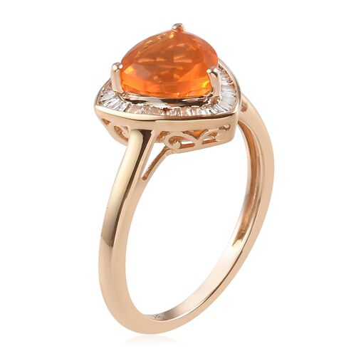 9K Yellow Gold Jalisco Fire Opal (Trl 8mm 1.05 Ct) and Natural Diamond Ring 1.25 Ct.