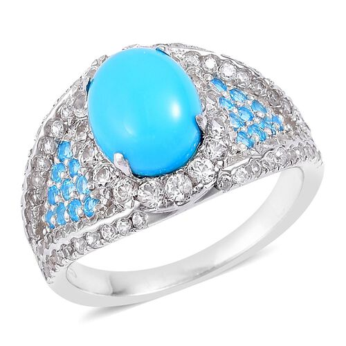 Designer Inspired - Arizona Sleeping Beauty Turquoise (Ovl 2.00 Ct), Malgache Neon Apatite and Natural White Cambodian Zircon Ring in Rhodium Plated Sterling Silver 4.500 Ct. Number of Gemstone 113