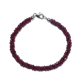 Rhodolite Garnet (Rnd) Twisted Beaded Bracelet (Size 7.5) with Lobster Lock in Rhodium Overlay Sterl