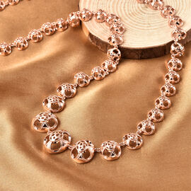Super Find- Rachel Galley Art Deco Collection - Rose Gold Overlay Sterling Silver Necklace (Size 20), Silver wt 39.41 Gms