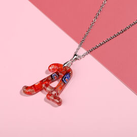 Red Murano Glass A-Initial Pendant with Chain (Size 24) in Rhodium Overlay Sterling Silver and Stainless Steel