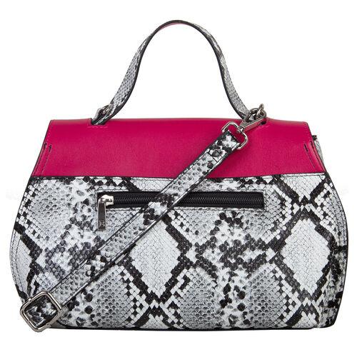 Bulaggi Collection - MONA Flap Handbag in Snake Print (24x09x20cm) - Fuschia