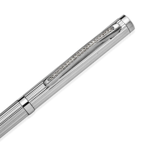 25 Single Cut Diamond Studded Sterling Silver (12.0 Gms) Bar Pattern Ball Pen with 1 Extra Refill in Black Colour Box