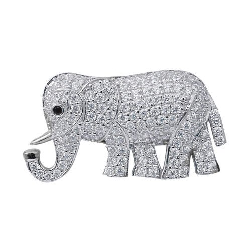 ELANZA Simulated Diamond (Rnd), Boi Ploi Black Spinel Elephant Pendant in  Rhodium Overlay Sterling Silver