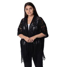 Knit Hollow Snowflake Pattern Kimono with Tassels (Size 85x65+14 Cm) - Black