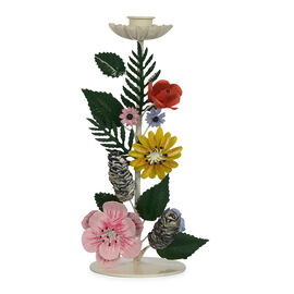 Decorative Handcrafted Floral Vertical Candle Stand (Size 12x12x26 Cm) - Multicolour