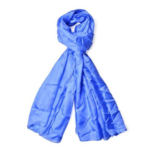 100% Mulberry Silk Pantone Niagara Blue Colour Scarf (Size 180x110 Cm)