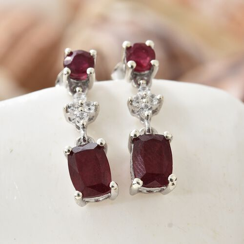 African Ruby (Cush), Natural Cambodian Zircon Earrings (with Push Back) in Platinum Overlay Sterling Silver 3.750 Ct.