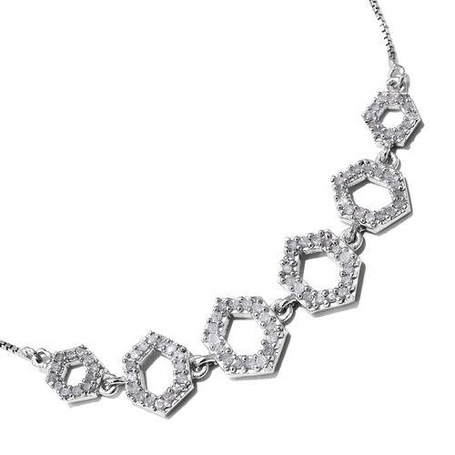 Diamond 0.50 Carat Silver Honeycomb Adjustable Bracelet in Platinum Overlay (Size 6.5 to 8)