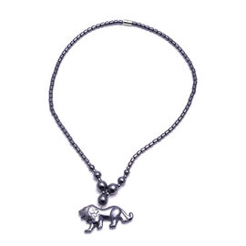 Hematite Lion Necklace with Magnetic Lock 254.50 Ct