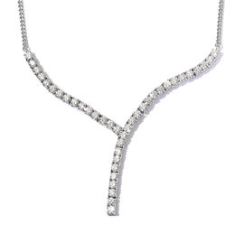 J Francis Platinum Overlay Sterling Silver Necklace (Size 18) Made with SWAROVSKI ZIRCONIA 11.50  Ct